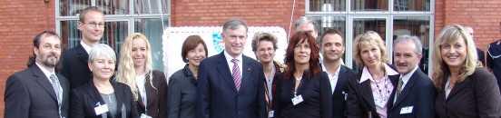 Foto (Dirk Honnef): Thüringer Bürgerdelegation mit Bundespräsident Horst Köhler und Frau