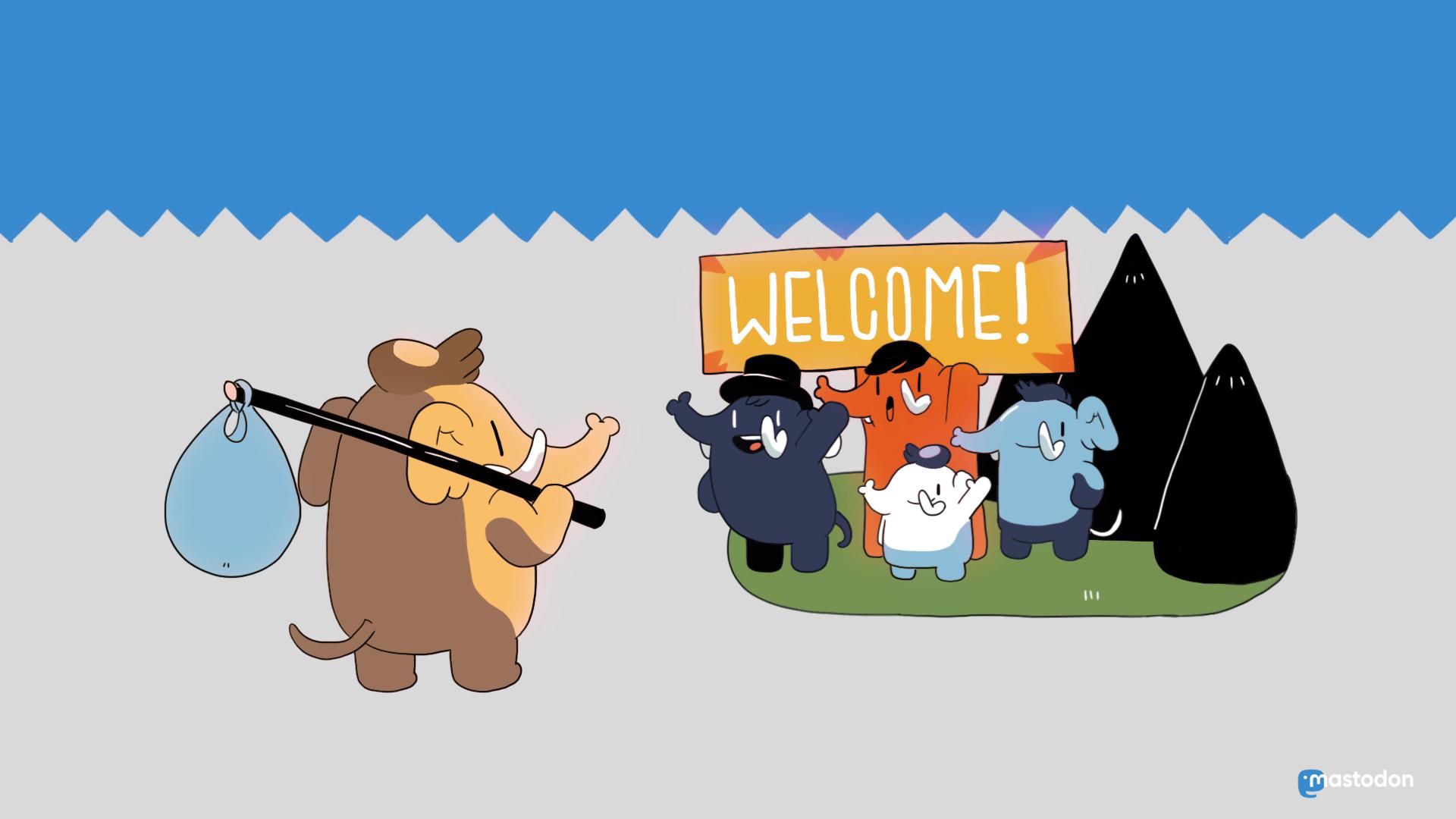 """Grafik """"Mastodon welcome"""" - Ein Mammut wird von einer Gruppe Mammuts begrüsst"""