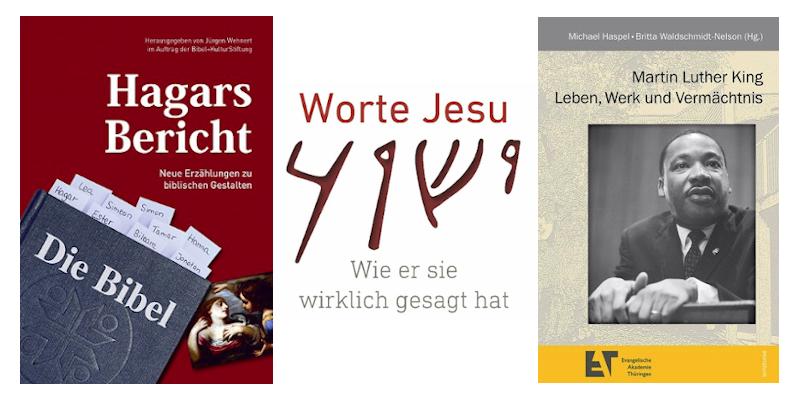Cover der Bücher Hagars Bericht/ Worte Jesu/ M.L.King