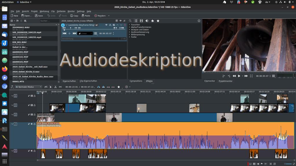 Bildschirmfoto eines Videoeditors mit Schriftzug Audiodeskription